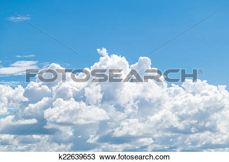 Drawing of Puffy clouds and blue sky in sunny day k22639653.