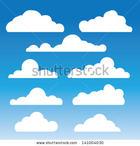 Fluffy Clouds Vector Collection Stylized Cloud Stock.
