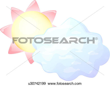 Clip Art of cumulus, sun, fleecy cloud, hiding, natural, sky.