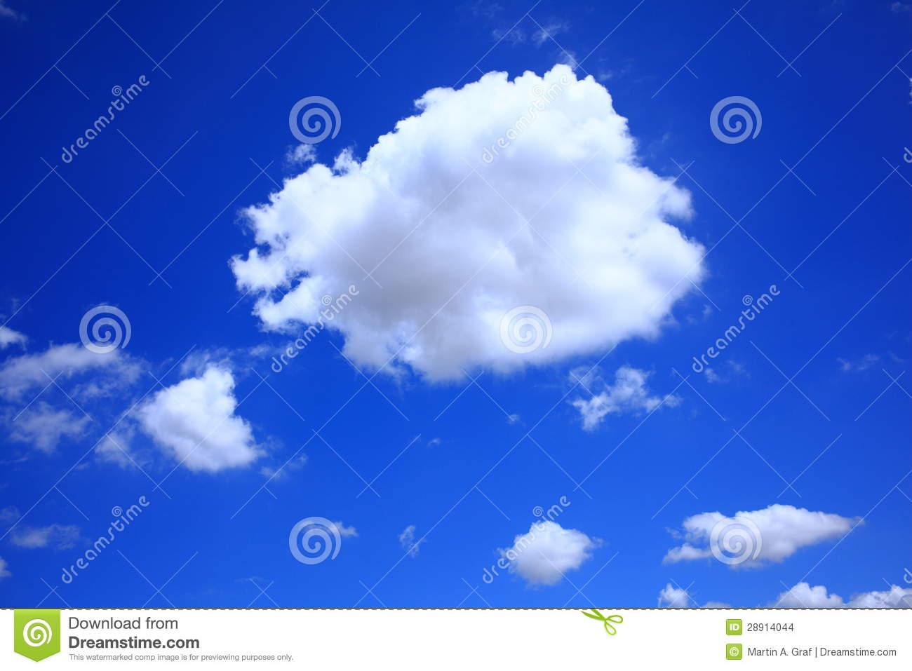 Cumulus Cloud In Clear Blue Sky Stock Images.