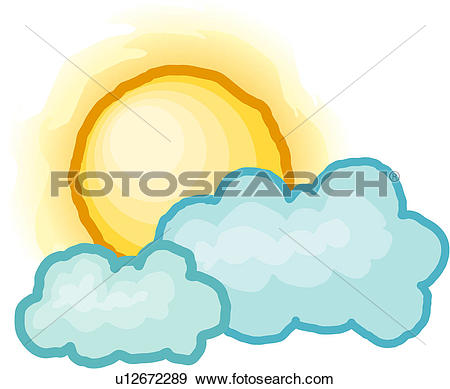 Clip Art of fleecy, cumulus, hiding, sun, sky, fleecy cloud.