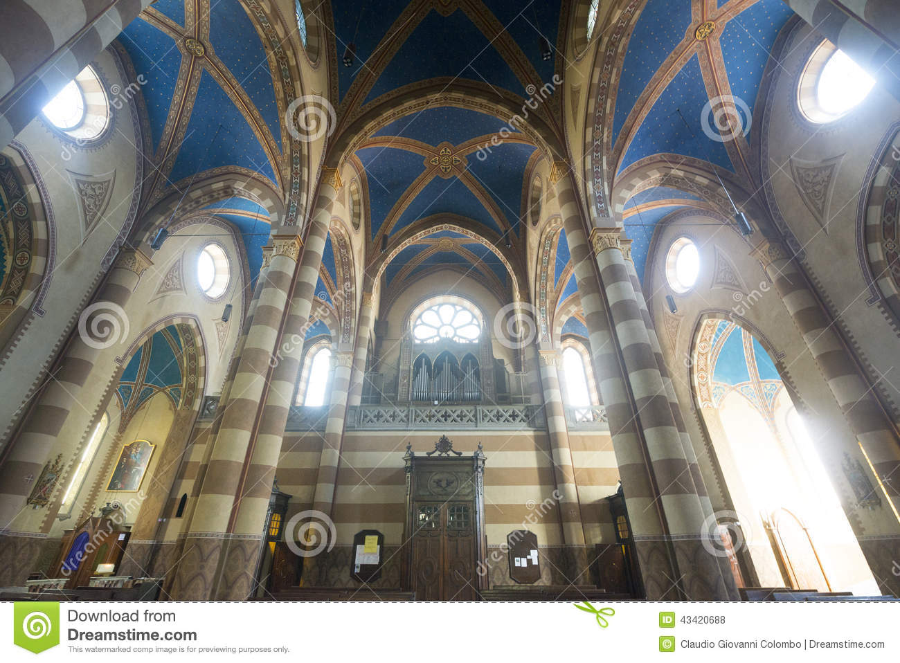 Cathedral Of Alba (Cuneo, Italy), Interior Stock Photo.
