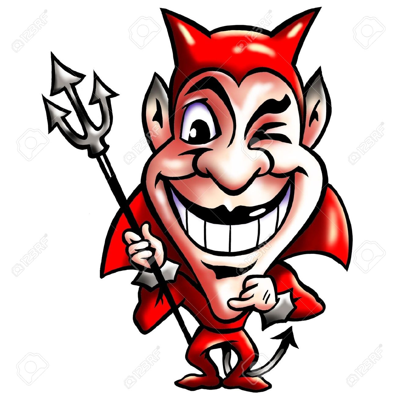 Cunning Smiling Red Devil Stock Photo, Picture And Royalty Free.