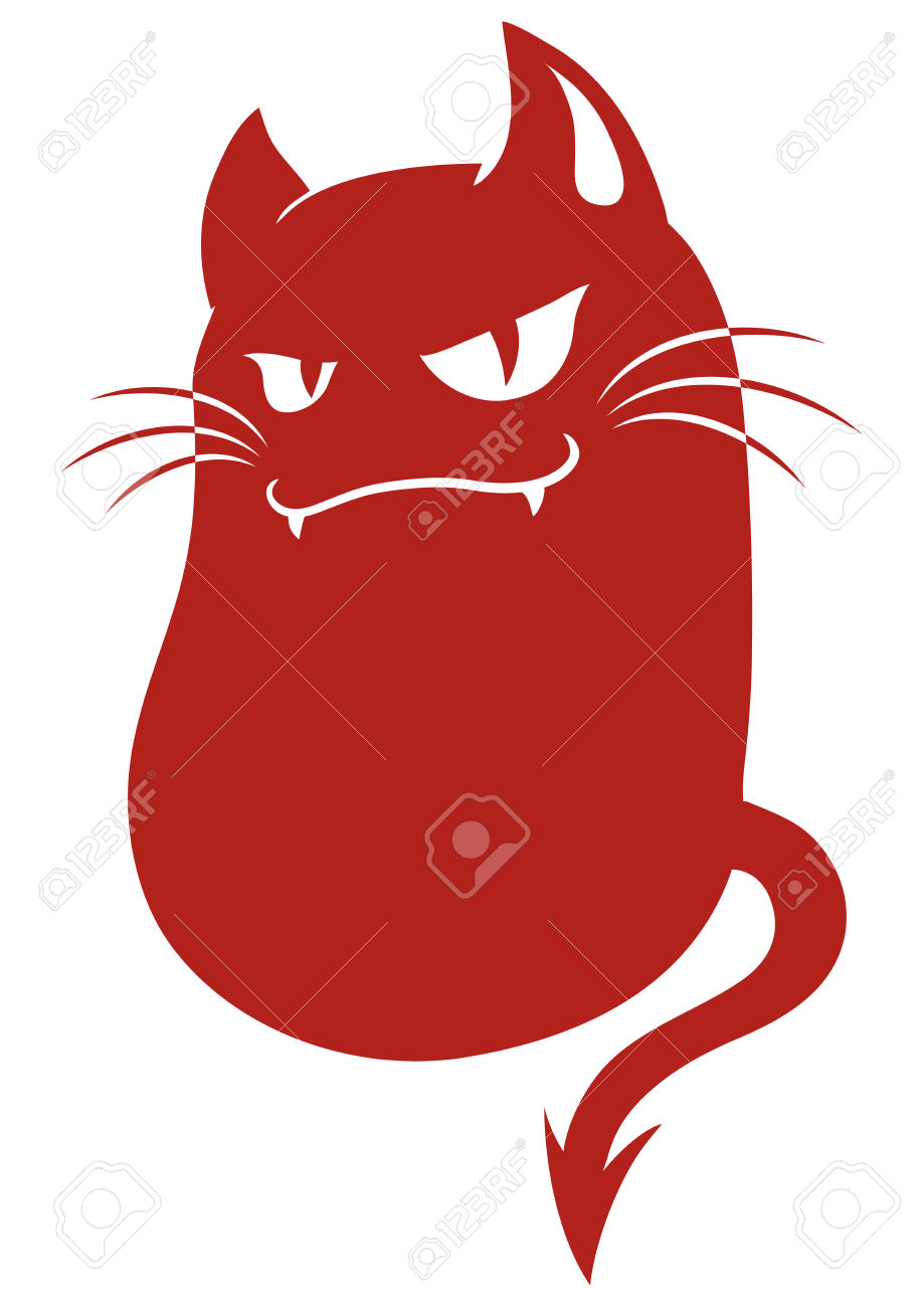 Devil Cat Monster Royalty Free Cliparts, Vectors, And Stock.