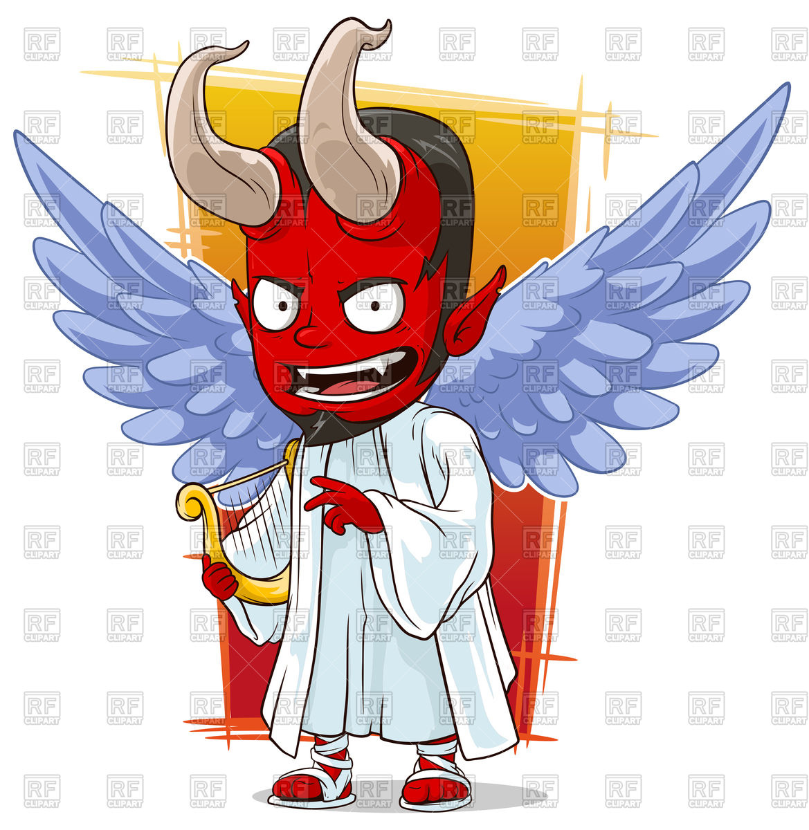 Cartoon cunning red devil in angel costume with wings and harp.