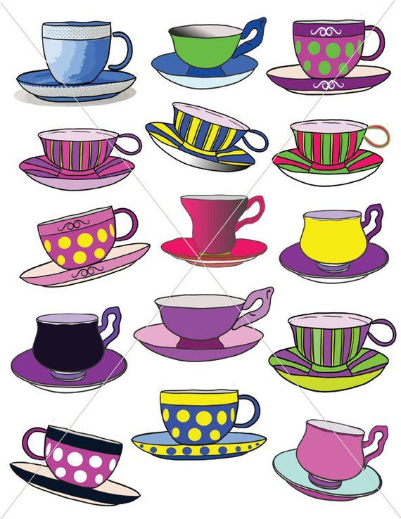 Colorful Teacups, Tea Party Graphics, Clipart Cups, Cup and.