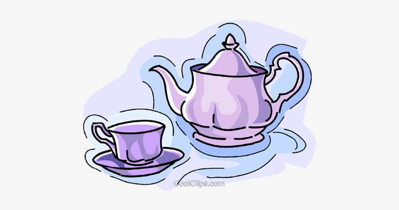 Teapot With Teacup Royalty Free Vector Clip Art Illustration.