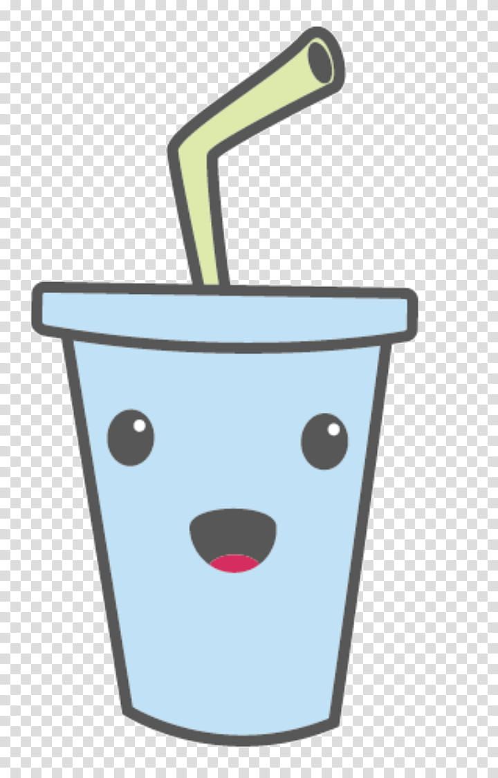 Kawaii, white cup with straw icon transparent background PNG.