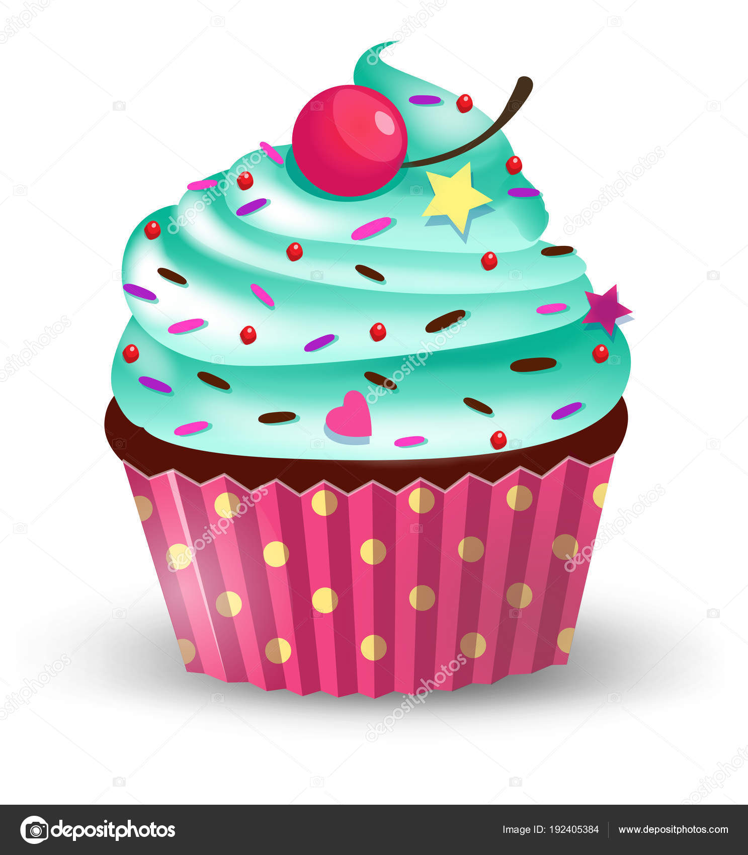 Clipart: cute cartoon cupcake.