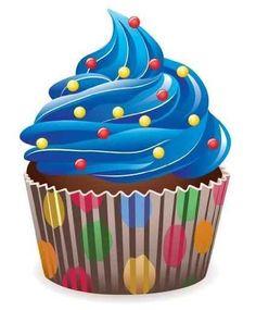 Blue Cupcake Clipart.