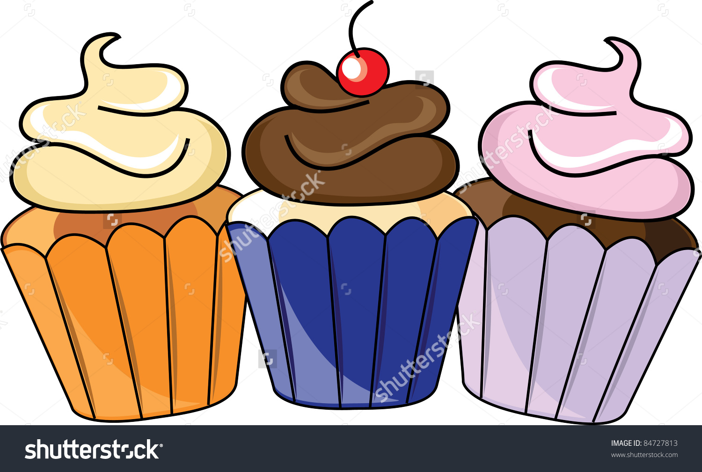 Clip Art Illustration Three Cupcakes Frosting Stock Illustration.