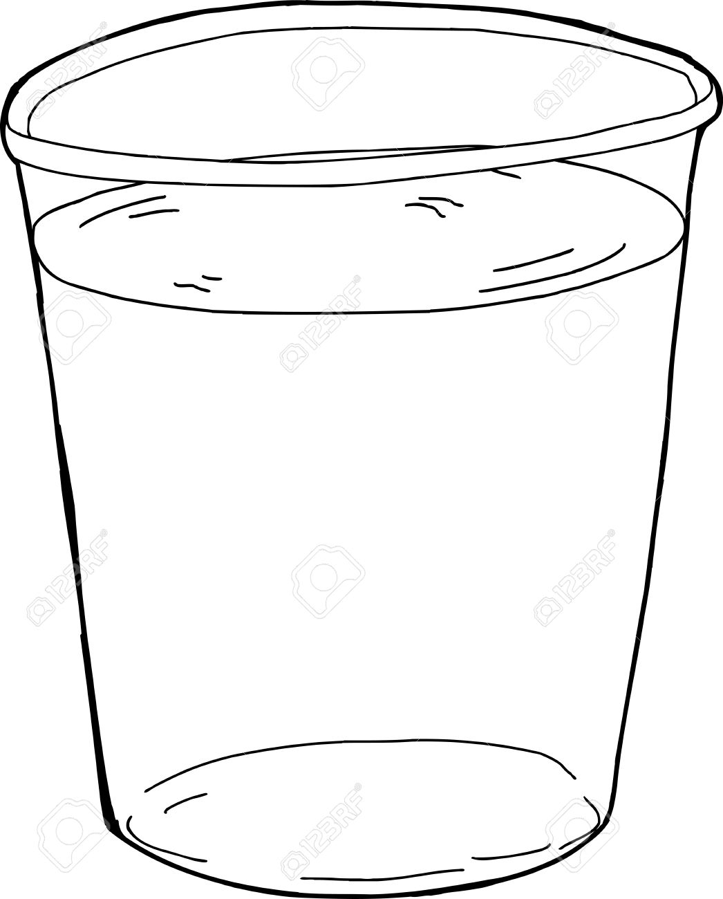 Cup Of Water Clipart Black And White.