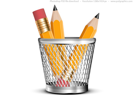 Pencils in a cup clipart.