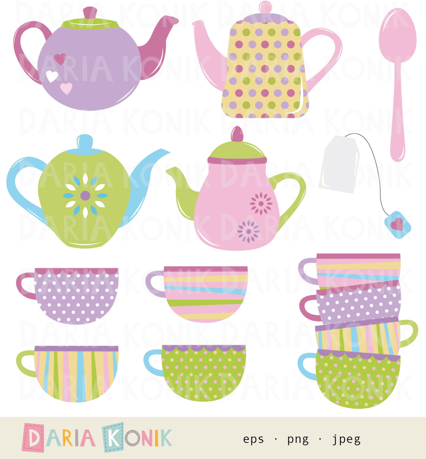 Tea Time Clip Art Set.