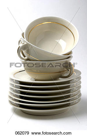 Stock Photograph of stacked cups and saucers 062079.