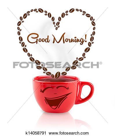Clipart of Coffee mug with coffee beans shaped heart with good.