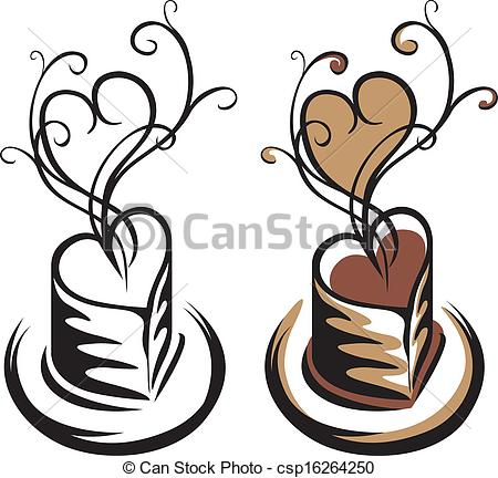 Clipart Vector of Heart shaped cup of coffee simple stencil and.