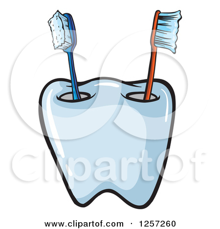 Clipart of a Tooth Shaped Toothbrush Cup.