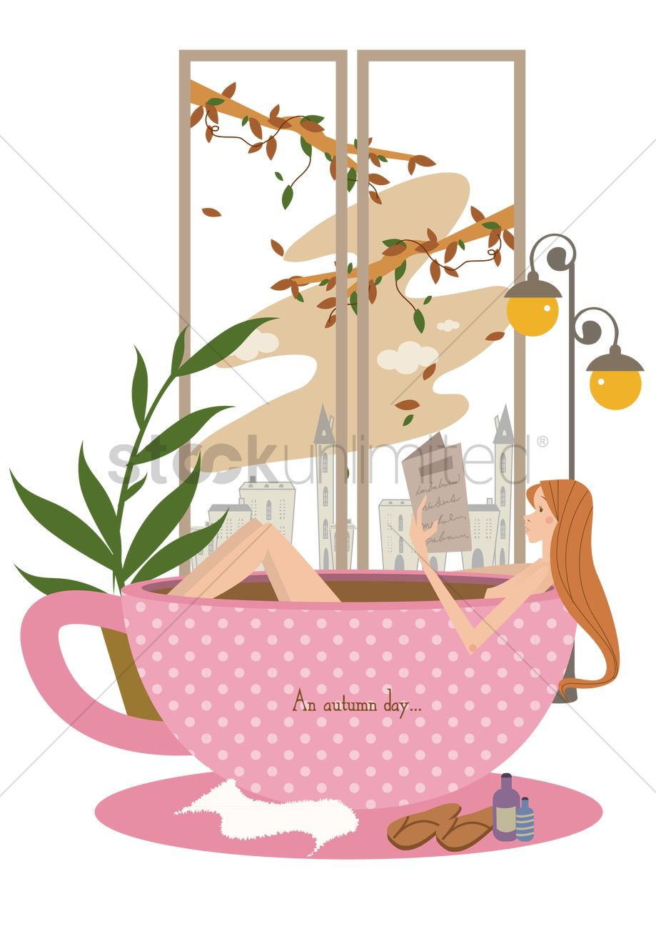 Girl in a cup shaped bathtub Vector Image.