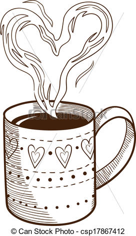Vector Clip Art of Coffee cup with heart shaped steam. Sketch.