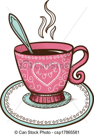 Vector of Tea or coffee cup with heart shaped steam. Sketch vector.