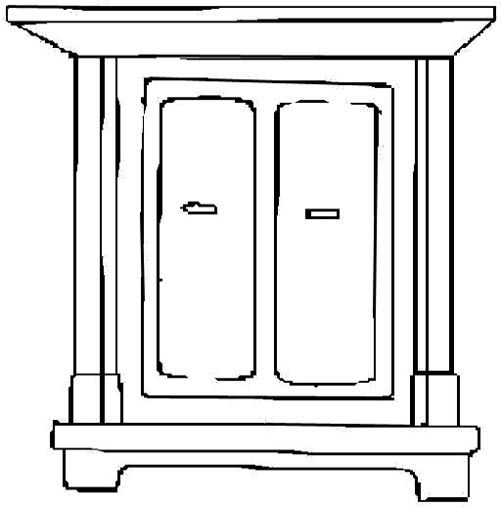 Cupboard Clipart Black And White 2.