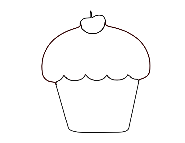Black And White Cupcake Clipart & Clip Art Images #13191.
