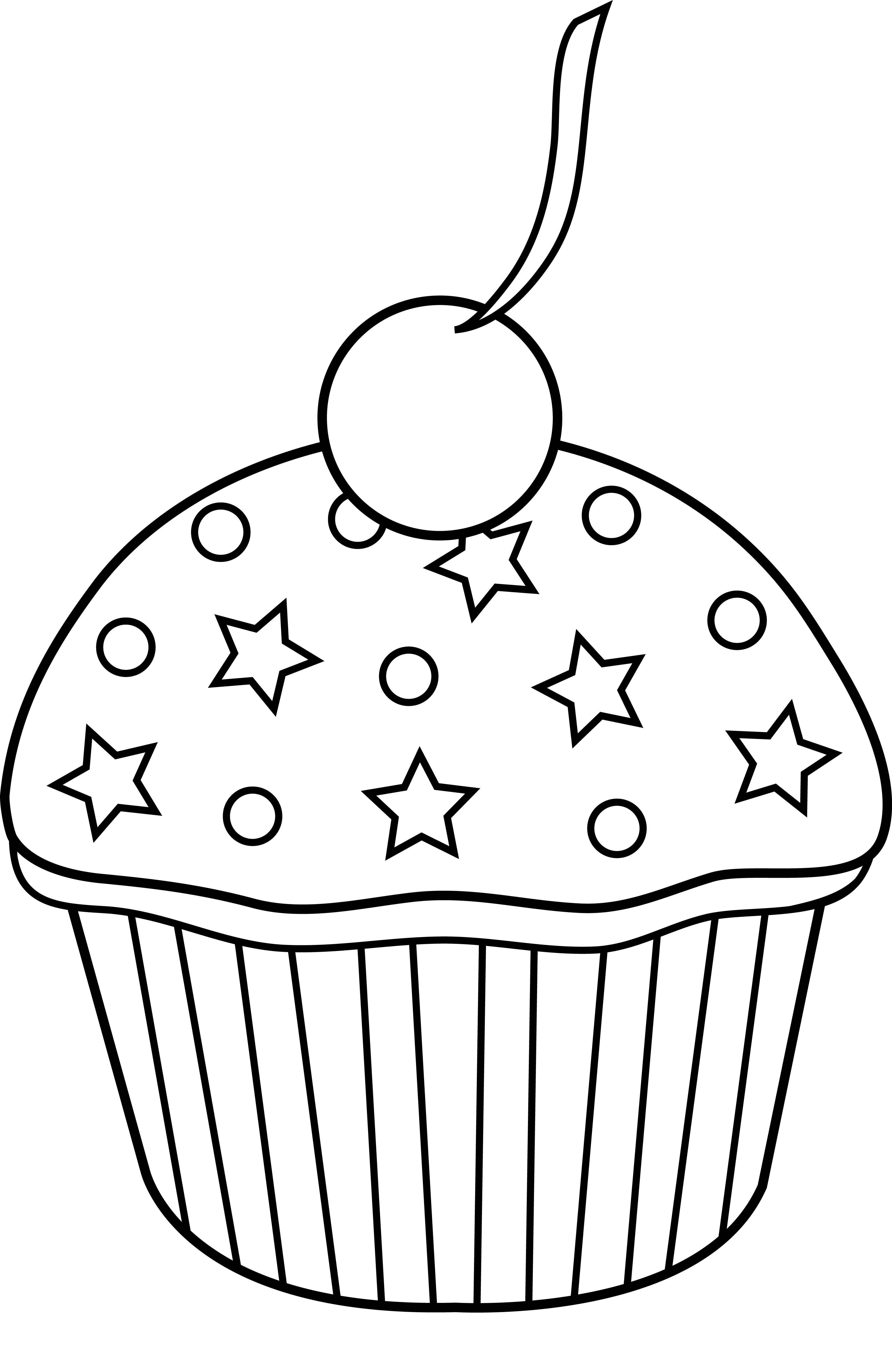 Cupcake Clipart Black And White No Sprinkles Clipground