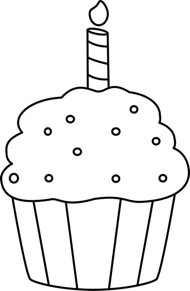 Vector and Birthday Black And White Cupcake Clipart Black And.