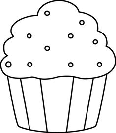 Cupcake Clipart Black And White No Sprinkles.