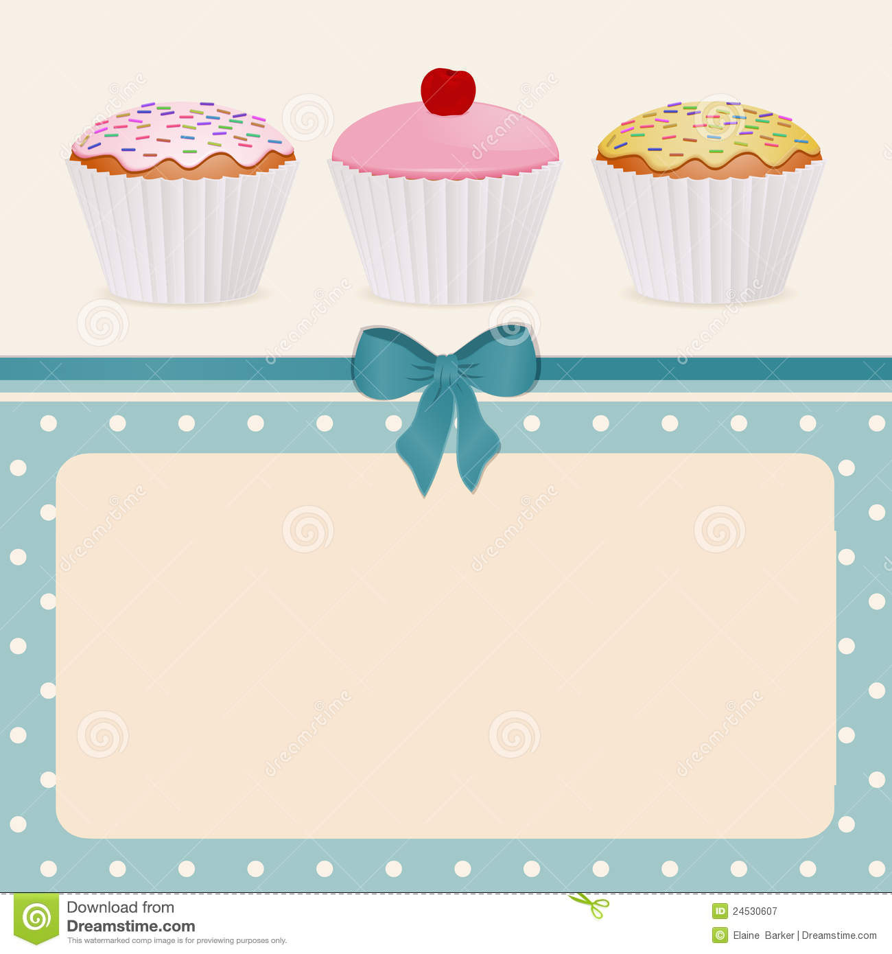 Cupcakes On Blue Polka Dot Background Stock Illustration.