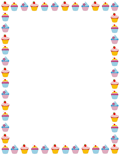 Cupcake page border. Free downloads at http://pageborders.org.