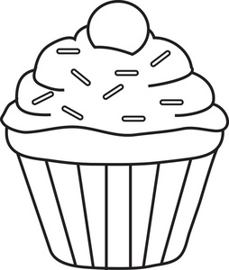 Coloring Page Clipart Image: Frosted Cupcake Coloring Page.