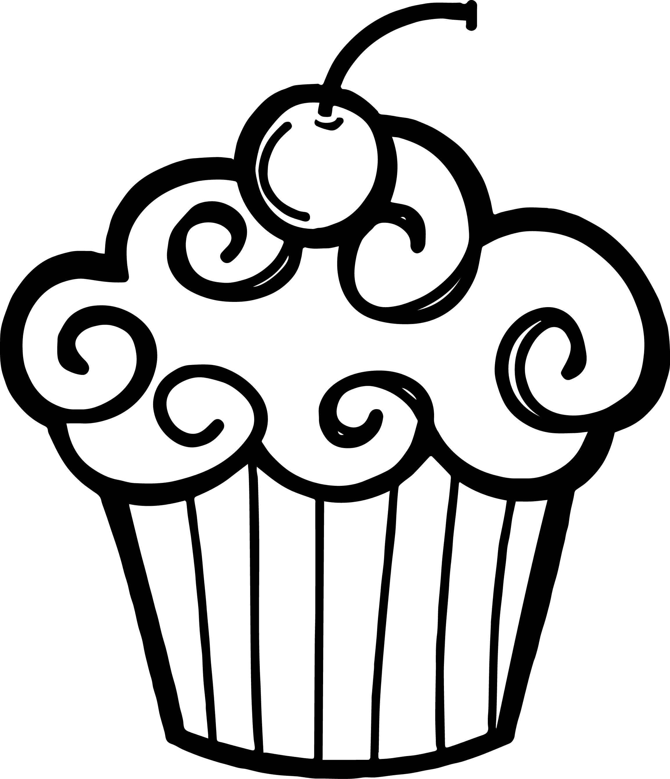Outline Cupcake Clipart.