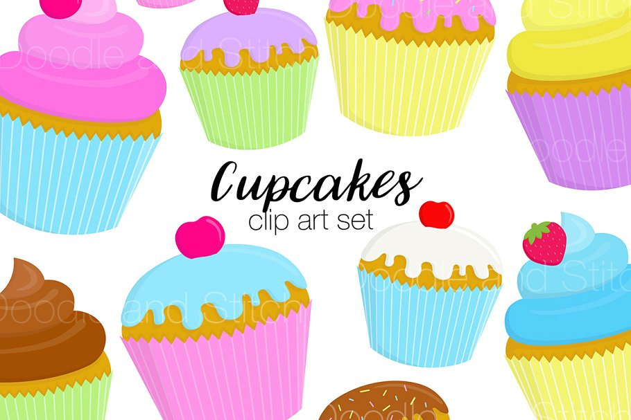 Cupcakes Clipart Illustration Set.
