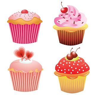 Free 4 Clip Arts Cupcakes.