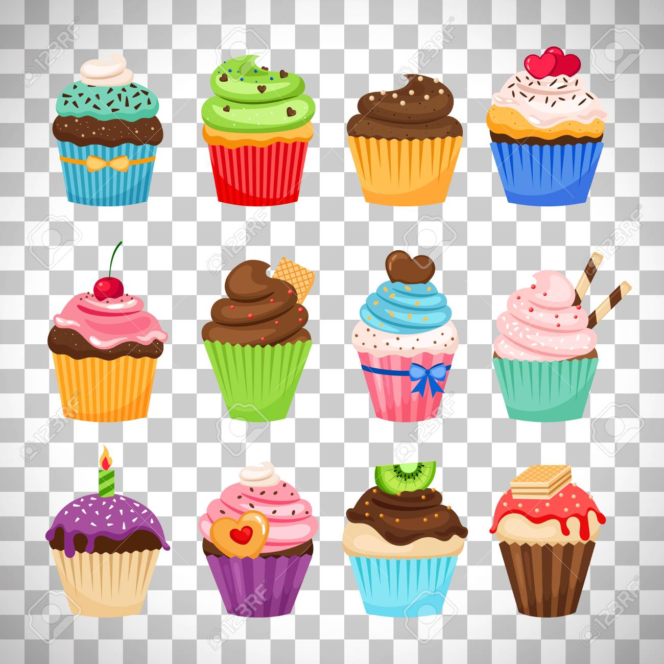 Delicious cupcakes and vector sprinkles muffin set isolated on...