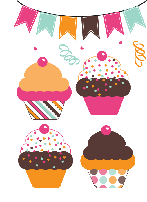 Free Cute Cupcakes Clipart Graphics.