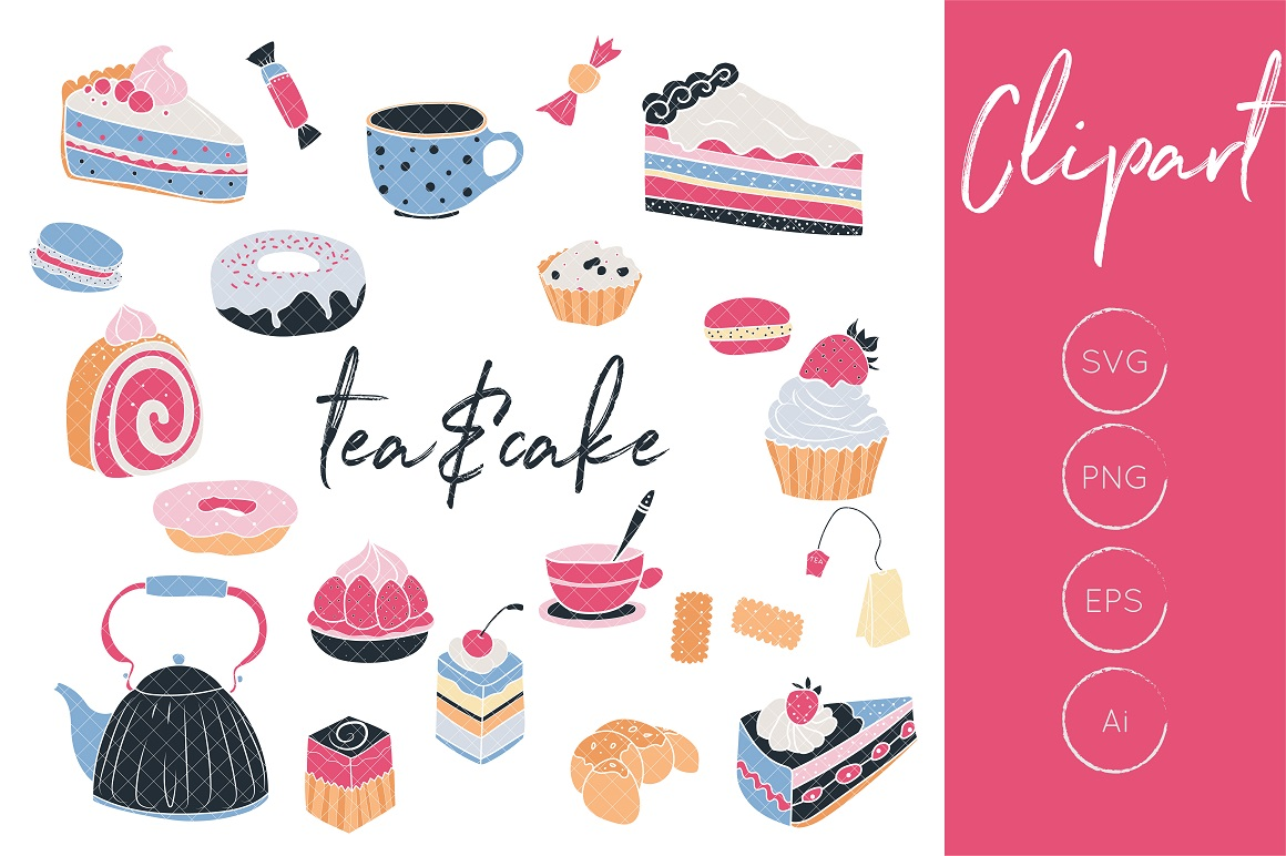 Tea clipart, cake clipart, tea and cake clipart, cupcake clipart, cake  graphics, tea pot clipart, tea cup graphics.