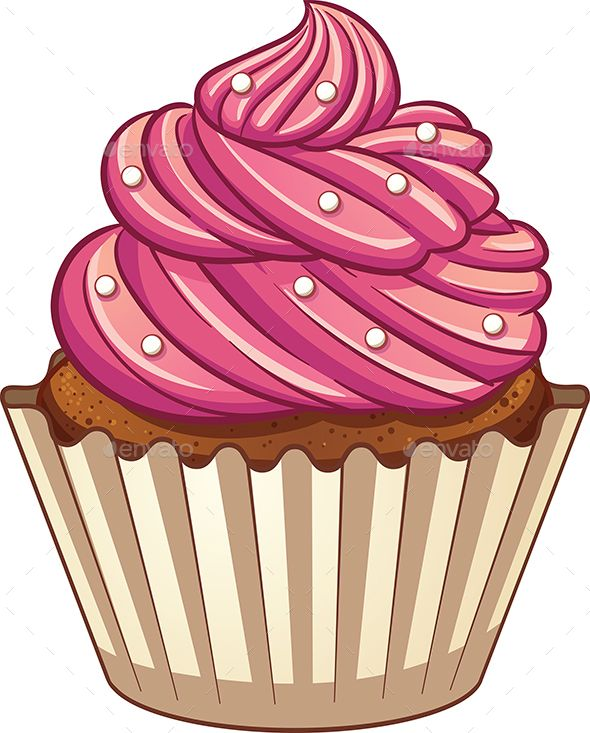 Cartoon cupcake. Vector clip art illustration with simple gradients.