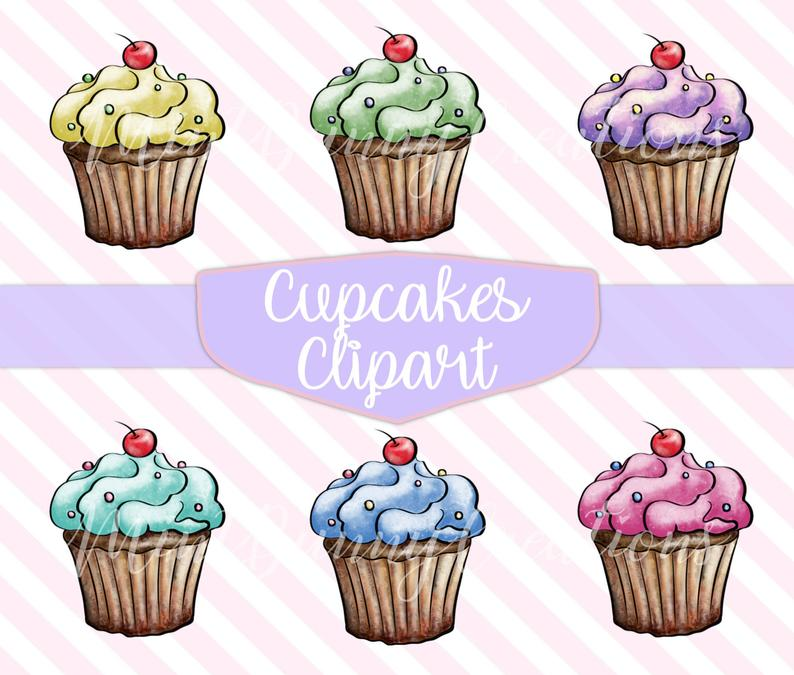 Hand Painted Cupcakes Clipart, Cupcake Graphics, Cupcake clip art, Cupcake  Png, Digital Clipart, Realistic Cupcake clipart, Cupcake Graphics.