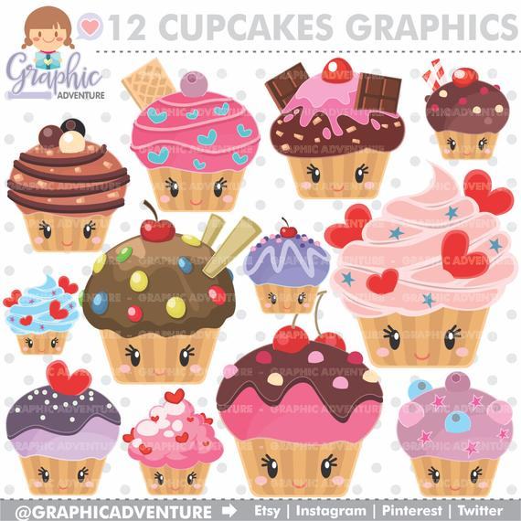 Cupcake Clipart, Cupcake Graphics, COMMERCIAL USE, Kawaii Clipart, Cupcake  Party, Planner Accessories, Cake Clipart, Muffin Clipart.