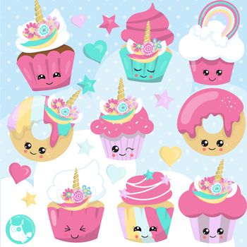 Sale Unicorn cupcakes clipart commercial use, vector graphics, digital.