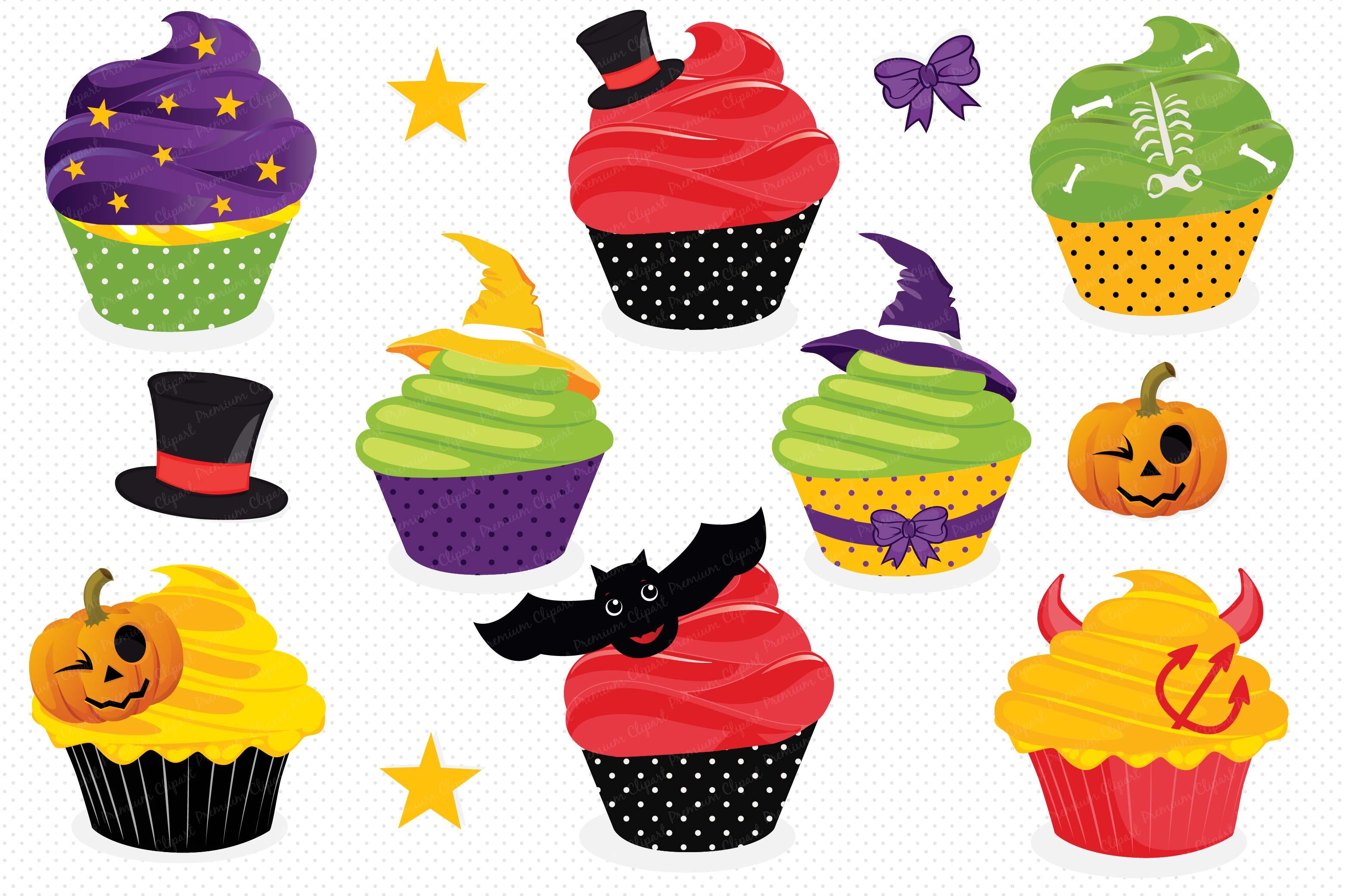Halloween cupcake clipart, Haloween cupcake graphics.