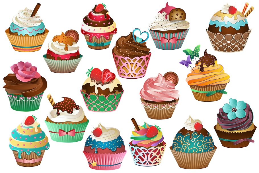 Cupcake Clipart Vector, PNG & JPG.