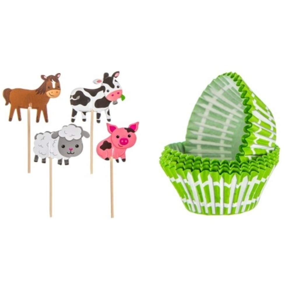 S&C Party 24 Barnyard Cupcake Toppers and 50 Cupcake Liners Decorations,  Farm Birthday Supplies Bundle.