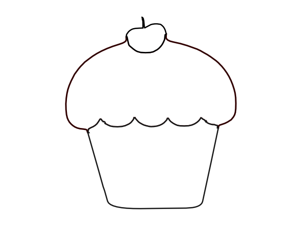 Cup Cake Outline clip art.