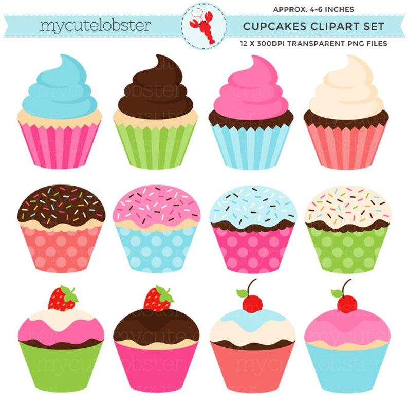 Cupcakes Clipart Set.