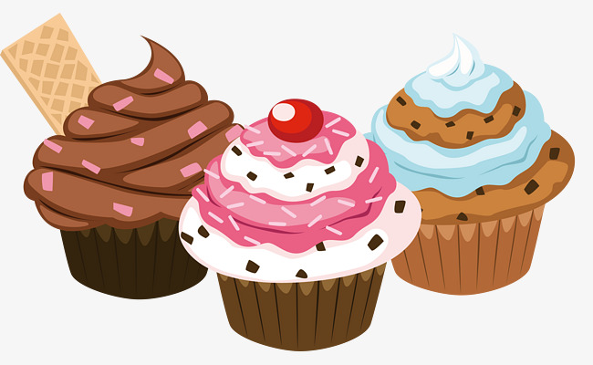 Vector Painted Three Cupcakes, Vector, H #75001.