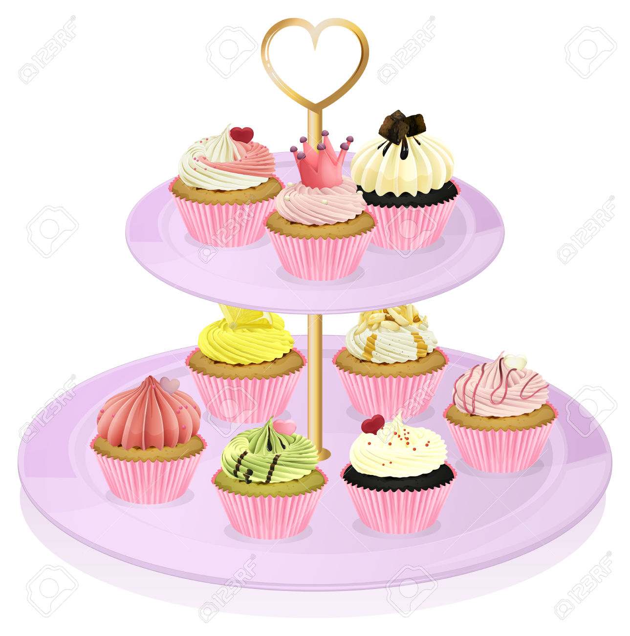 Illustration Of A Cupcake Stand With Cupcakes On A White.